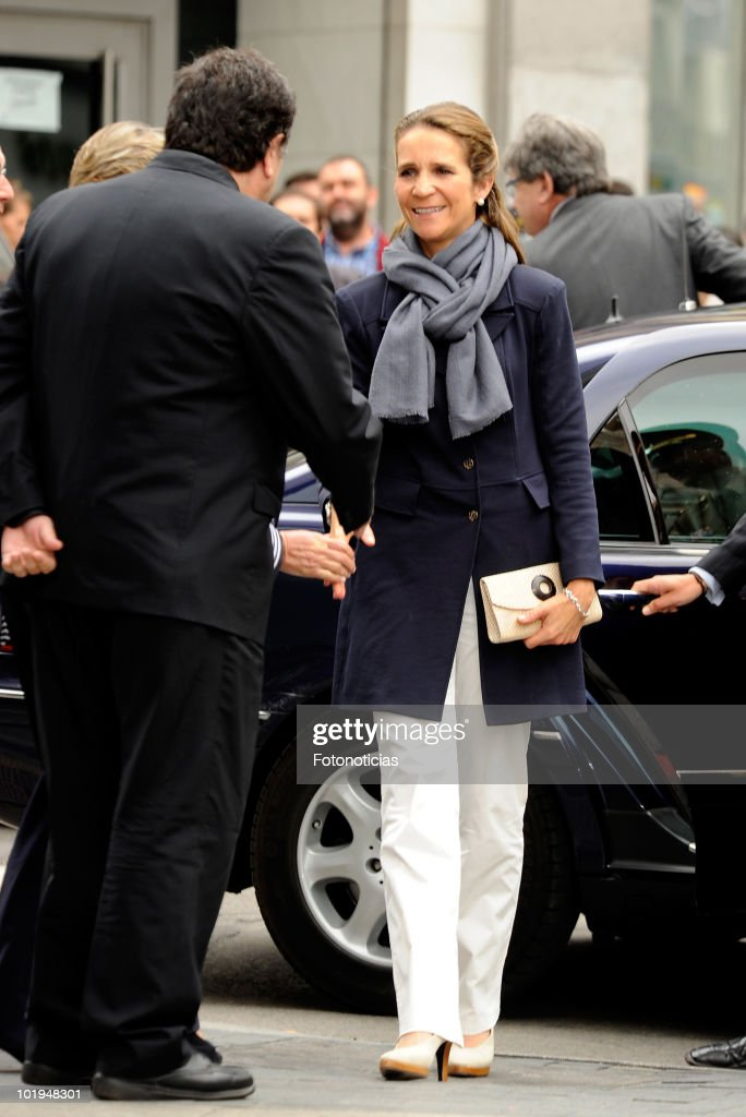 Princess Elena of Spain attends 'Caritas Charity Day' at the Banco Popular Espanol on June 10 2010 in Madrid Spain