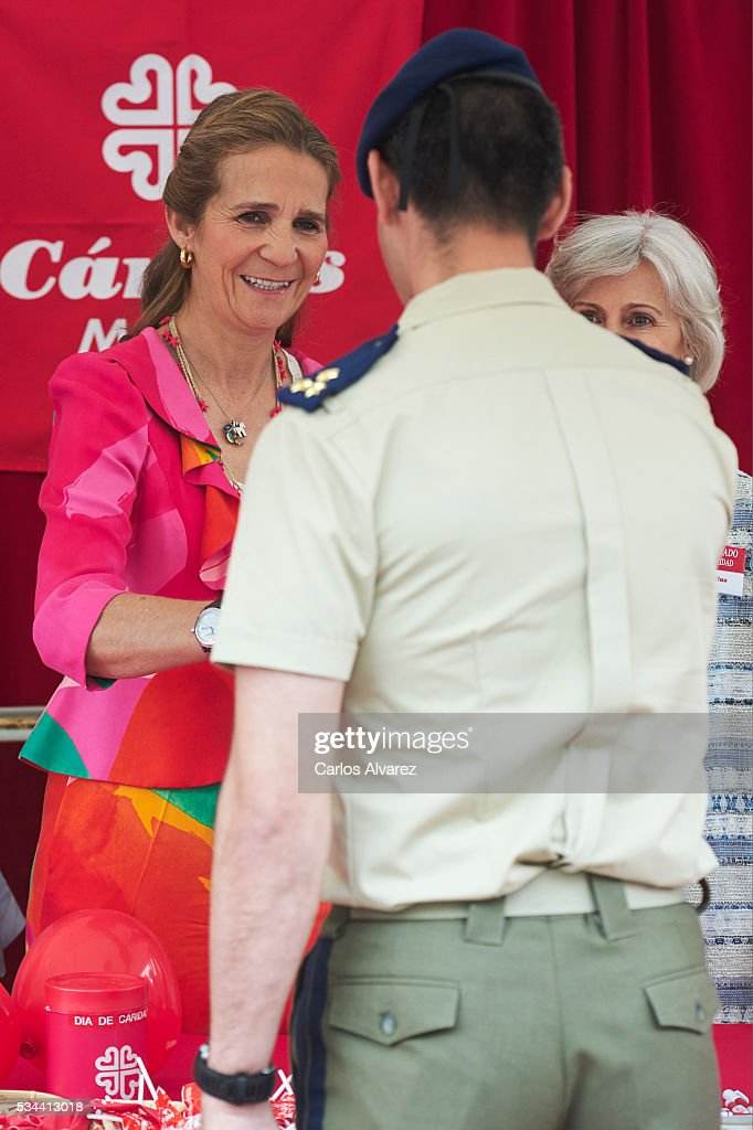 Princess Elena of Spain (L) attends 'Dia de la Caridad' on May 26, 2016 in Madrid, Spain.