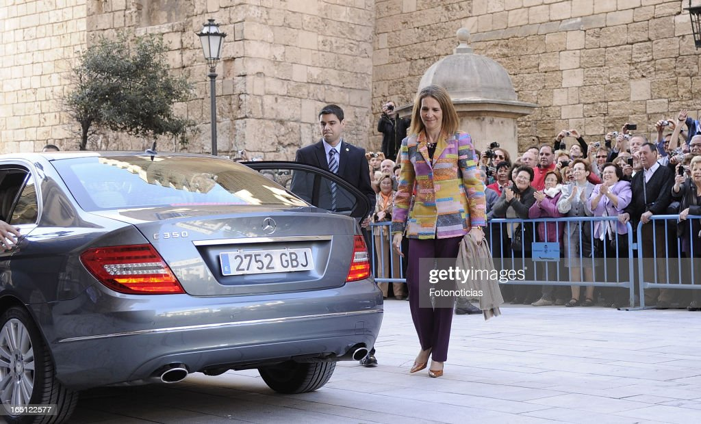 Princess Elena of Spain attends Easter Mass at The Cathedral of Palma de Mallorca on March 31, 2013 in Palma de Mallorca, Spain.