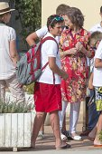 Princess Elena of Spain Felipe Juan Froilan Marichalar and Queen Sofia of Spain attend the diplomas delivery of Sailing course for children on August...
