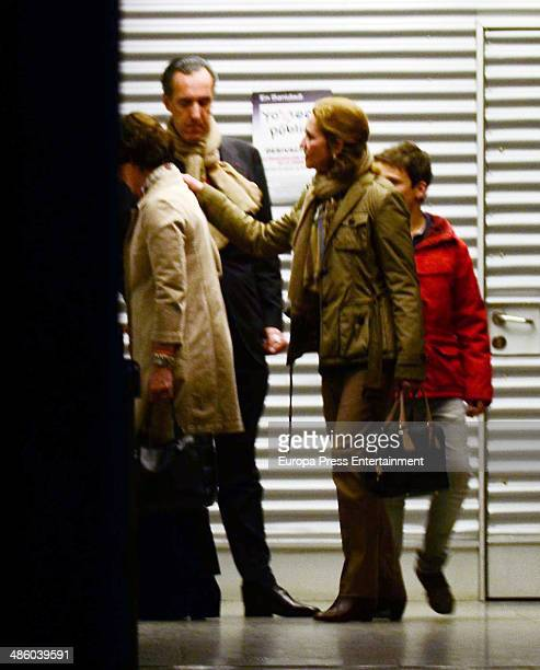 Princess Elena of Spain her ex husband Jaime de Marichalar and their son Felipe Juan Froilan are seen at La Paz Hospital after the death of Jaime's...