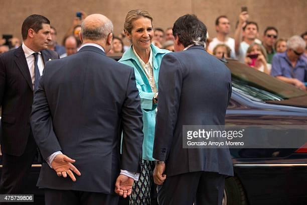Princess Elena of Spain is received by Madrid Comunity President Ignacio Gonzalez and Spanish Culture Minister Jose Ignacio Wert at Las Ventas...
