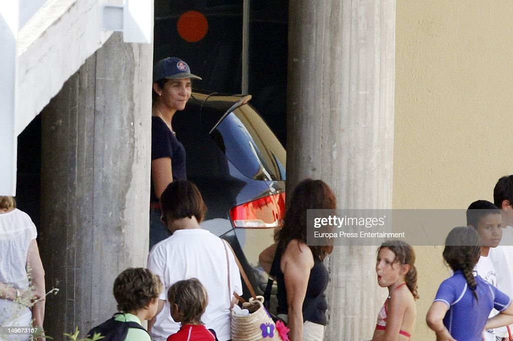 Princess Elena of Spain is seen in the navy club on August 1, 2012 in Palma de Mallorca, Spain. The children are attending sailing classes.