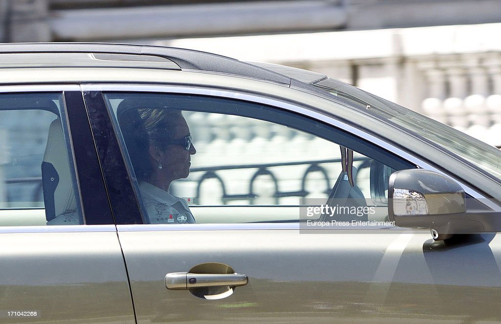 <a gi-track='captionPersonalityLinkClicked' href=/galleries/search?phrase=Princess+Elena+of+Spain&family=editorial&specificpeople=160235 ng-click='$event.stopPropagation()'>Princess Elena of Spain</a> is seen leaving Royal Palace after the mass commemorating the centenary of the birth of Don Juan de Borbon on June 20, 2013 in Madrid, Spain.