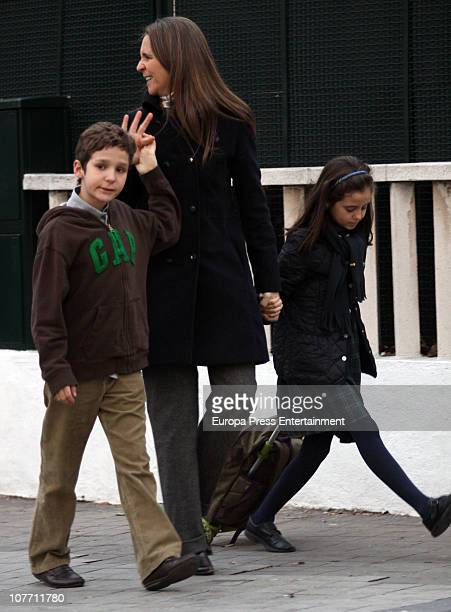 Princess Elena of Spain is seen sighting the day of her 47th birthday with her kids Felipe Juan Froilan and Victoria Federica on December 20 2010 in...