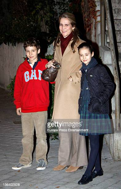 Princess Elena of Spain poses with her daughter Victoria Federica and her son Felipe Juan Froilan on her 47th birthday on December 20 2011 in Madrid...