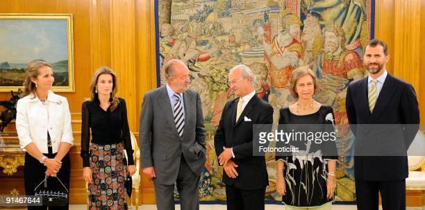 Princess Elena of Spain Princess Letizia of Spain King Juan Carlos of Spain King Carl Gustav of Sweden Queen Sofia of Spain and Prince Felipe of...