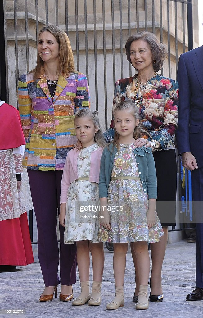 Princess Elena of Spain, Princess Sofia of Spain, Princess Leonor of Spain and Queen Sofia of Spain attend Easter Mass at The Cathedral of Palma de Mallorca on March 31, 2013 in Palma de Mallorca, Spain.