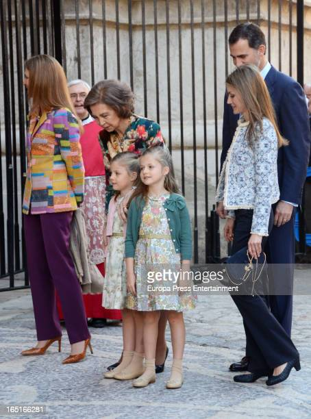 Princess Elena of Spain Queen Sofia of Spain Princess Sofia Princess Leonor Princess Letizia of Spain and Prince Felipe of Spain attend Easter Mass...