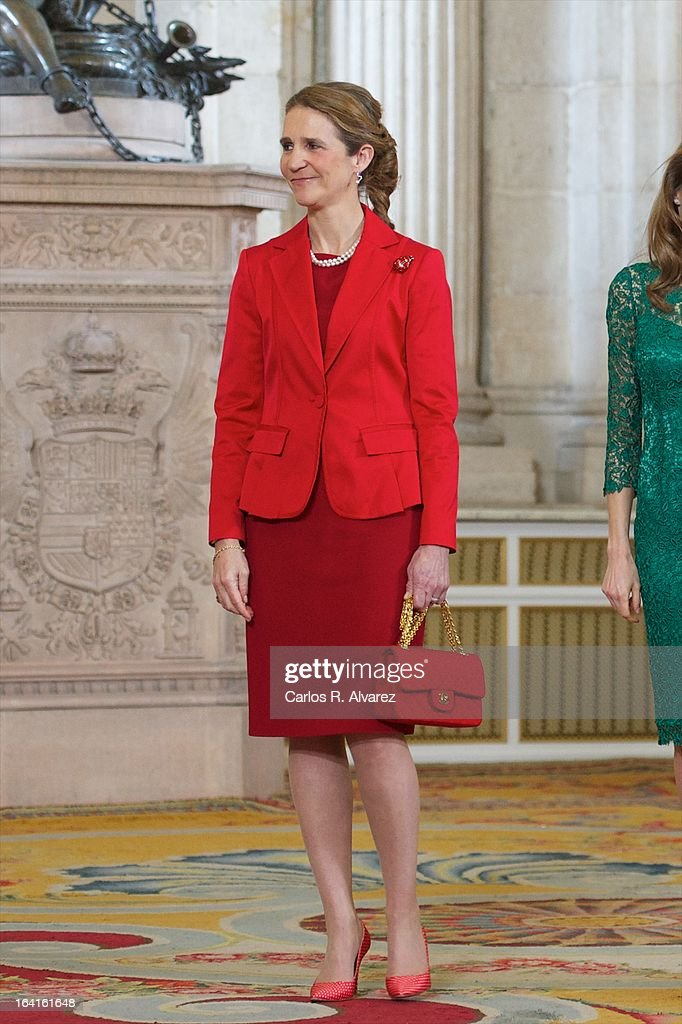 Princess Elena of Spain receives International Olympic Committee Evaluation Commission Team for a dinner at the Royal Palace on March 20, 2013 in Madrid, Spain.
