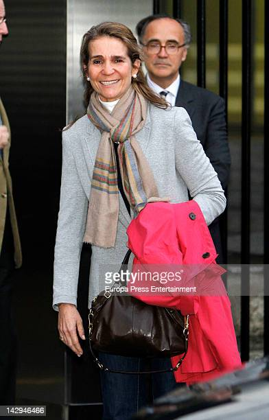 Princess Elena of Spain visits her father King Juan Carlos of Spain at USP San Jose Hospital on April 14 2012 in Madrid Spain The Spanish King had...
