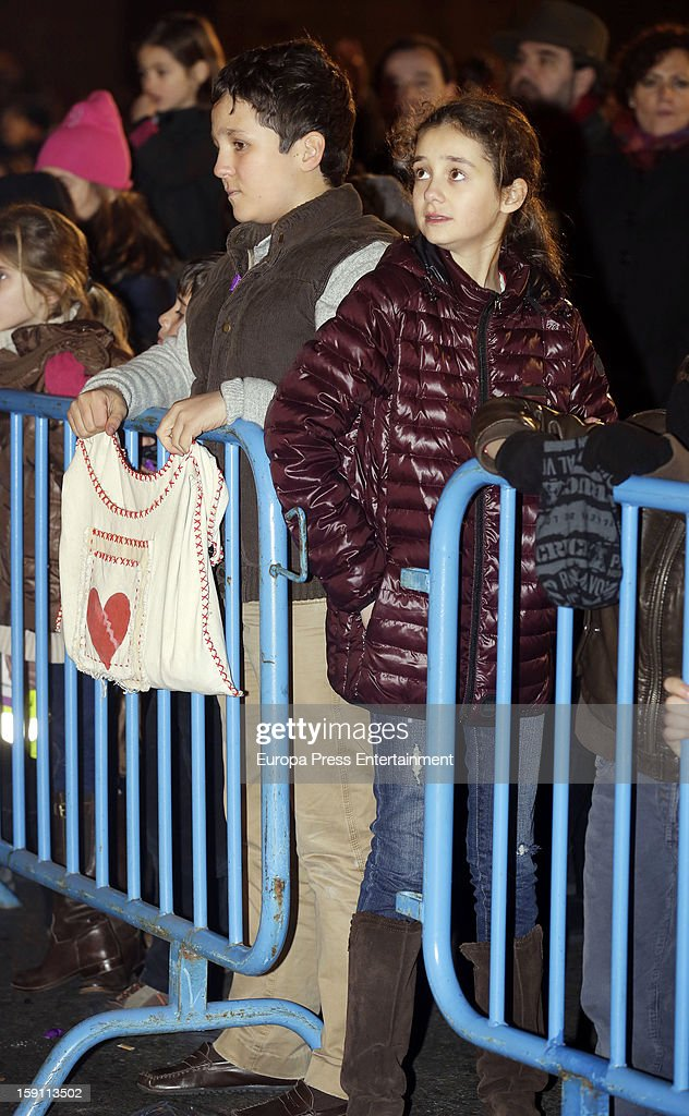 Princess Elena of Spain's son Felipe Juan and daughter <a gi-track='captionPersonalityLinkClicked' href=/galleries/search?phrase=Victoria+Federica&family=editorial&specificpeople=1100859 ng-click='$event.stopPropagation()'>Victoria Federica</a> attend the procession of the Wise Men on January 5, 2013 in Madrid, Spain.