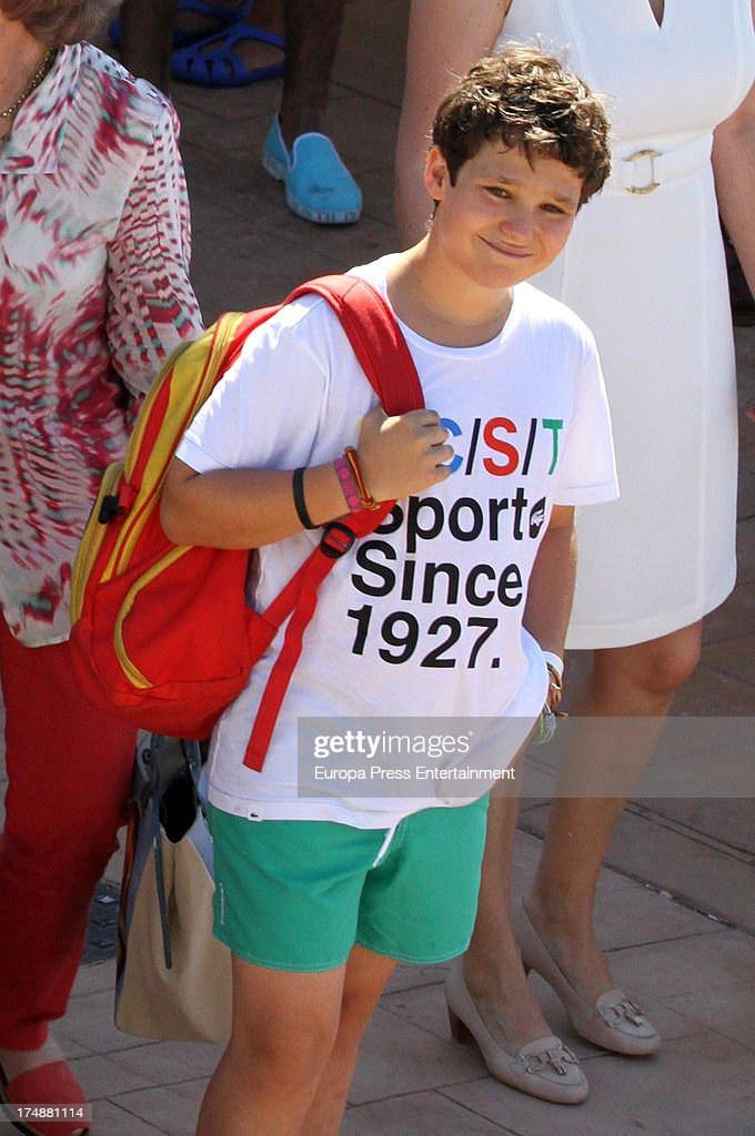 Princess Elena of Spain's son Felipe Juan Froilan de Marichalar is seen in Mallorca on July 29, 2013 in Mallorca, Spain. Princess Cristina of Spain comes back to Mallorca after two years.