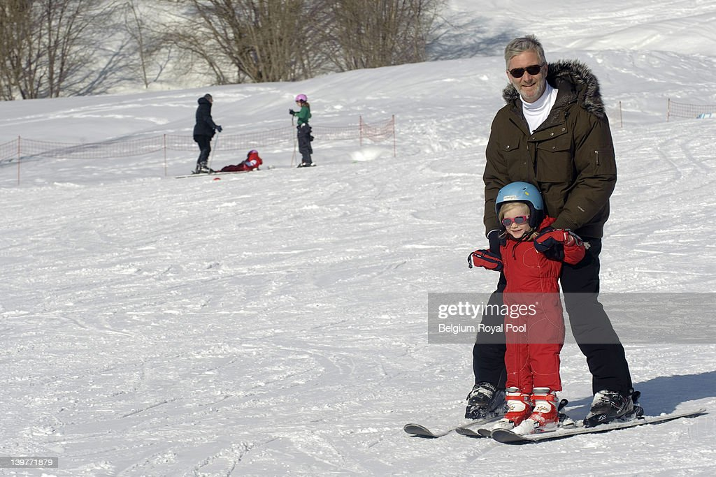 Princess Eleonore and Prince Philippe of Belgium pictured during their skiing holiday on February 17, 2012 in Verbier, Switzerland.