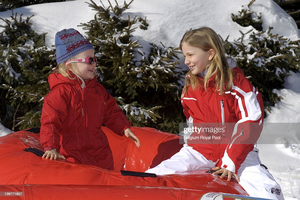 Princess Eleonore and <a gi-track='captionPersonalityLinkClicked' href=/galleries/search?phrase=Princess+Elisabeth+of+Belgium&family=editorial&specificpeople=763412 ng-click='$event.stopPropagation()'>Princess Elisabeth of Belgium</a> pictured during their skiing holiday on February 17, 2012 in Verbier, Switzerland.