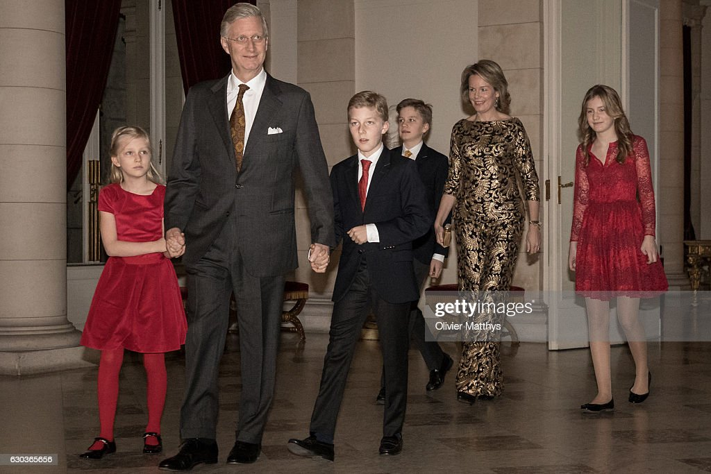 Princess Eleonore, King Philip of Belgium, Prince Gabriel, Prince Emmanuel, Queen Mathilde of Belgium and Princess Elisabeth attend the Christmas Concert at the Royal Palace on December 21, 2016 in Brussels, Belgium.