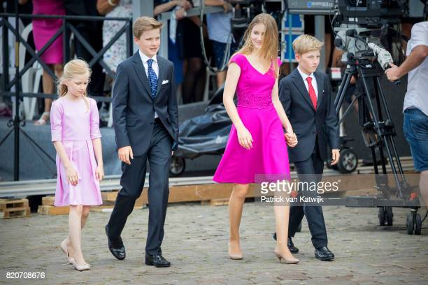 Princess Eleonore of Belgium Prince Gabriel of Belgium Princess Elisabeth of Belgium and Prince Emmanuel of Belgium attend the military parade on the...