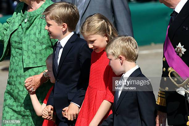 Princess Eleonore of Belgium Prince Gabriel of BelgiumPrincess Elisabeth of Belgium and Prince Emmanuel of Belgium attend the Civil and Military...