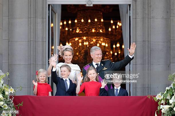 Princess Eleonore of Belgium Prince Gabriel of BelgiumQueen Mathilde of BelgiumPrincess Elisabeth of Belgium King Philippe of Belgium and Prince...