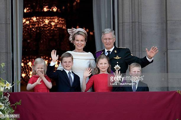 Princess Eleonore of Belgium Prince Gabriel of BelgiumQueen Mathilde of Belgium Princess Elisabeth of Belgium King Philippe of Belgium and Prince...