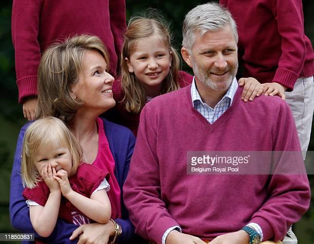 Princess Eleonore of Belgium Princess Mathilde of Belgium Princess Elisabeth Belgium and Prince Philippe of Belgium photographed at the educational...