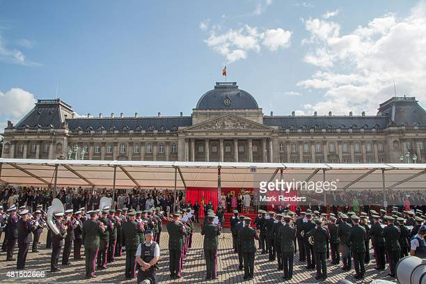 Princess Eleonore Prince Emmanuel Princess Elisabeth Prince Gabriel Queen Mathilde King Philippe of Belgium during the National Day Parade on July 21...