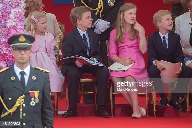 Princess Eleonore Prince Emmanuel Princess Elisabeth Prince Gabriel of Belgium during the National Day Parade on July 21 2015 in Brussel Belgium