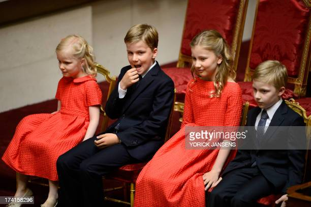Princess Eleonore Prince Gabriel Crown Princess Elisabeth and Prince Emmanuel attend the oath taking ceremony of the new Belgium King at the Chamber...