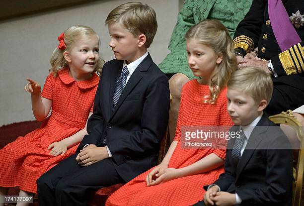 Princess Eleonore Prince Gabriel Princess Elisabeth and Prince Emmanuel of Belgium watch as Prince Philippe of Belgium takes his oath following the...