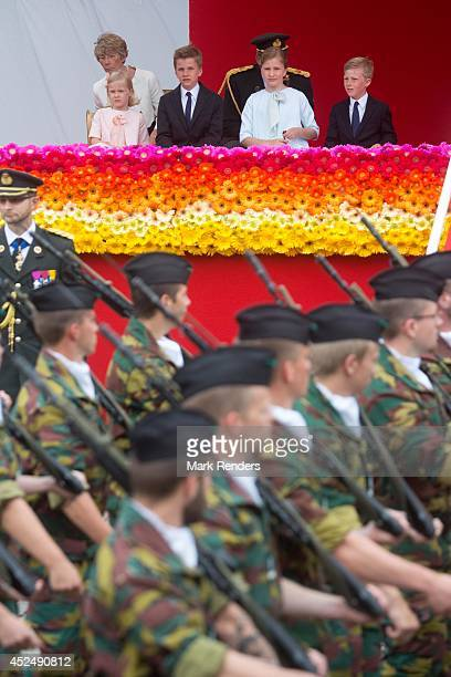 Princess Eleonore Prince Gabriel Princess Elisabeth and Prince Emmanuel of Belgium assist National Day at Place des Palais on July 21 2014 in Brussel...
