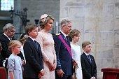 Princess Eleonore Prince Gabriel Queen Mathilde of Belgium King Philippe of Belgium Crown Princess Elisabeth and Prince Emmanuel attend the Te Deum...