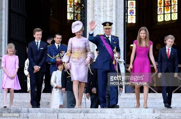 Princess Eleonore Prince Gabriel Queen Mathilde of Belgium King Philippe of Belgium Crown Princess Elisabeth and Prince Emmanuel walk after the Te...