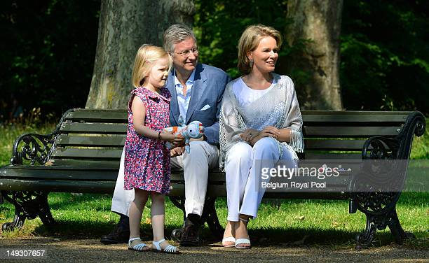 Princess Eleonore Prince Philippe and Princess Mathilde of Belgium pose for a photo during a visit to central London on July 26 2012 in London England