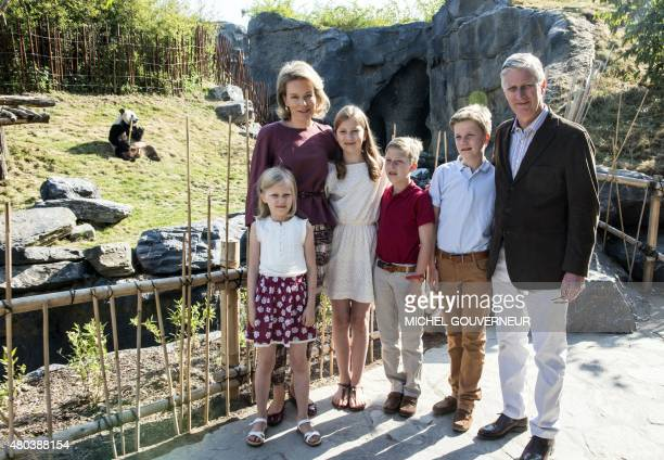Princess Eleonore Queen Mathilde of Belgium Crown Princess Elisabeth Prince Emmanuel Prince Gabriel and King Philippe of Belgium pose for a family...