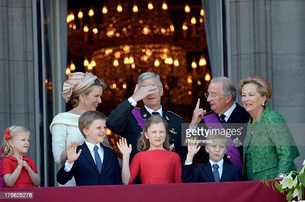 Princess Eleonore Queen Mathilde Prince Gabriel Princess Elisabeth Prince Emmanuel King Philippe King Albert II and Queen Paola at the balcony of the...