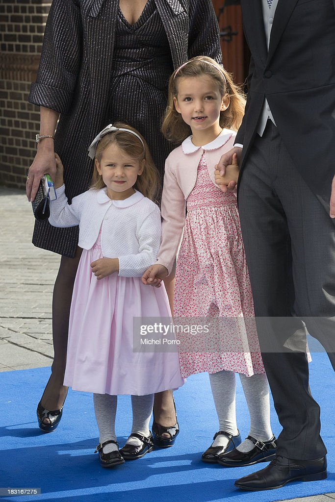 Princess Eliane and princess Magali attend the wedding of Prince Jaime de Bourbon Parme and Viktoria Cservenyak at The Church Of Our Lady At Ascension on October 5, 2013 in Apeldoorn, Netherlands.