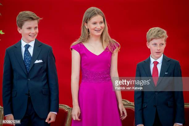 Princess Elisabeth of Belgium Prince Gabriel of Belgium and Prince Emmanuel of Belgium attend the military parade on the occasion of the Belgian...