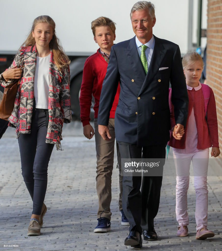 Princess Elisabeth of Belgium, Prince Gabriel of Belgium, King Philippe of Belgium and Princess Eleonore of Belgium arrive at the St John Bergmans college to attend the first day of school on September 1, 2017 in Brussels, Belgium.