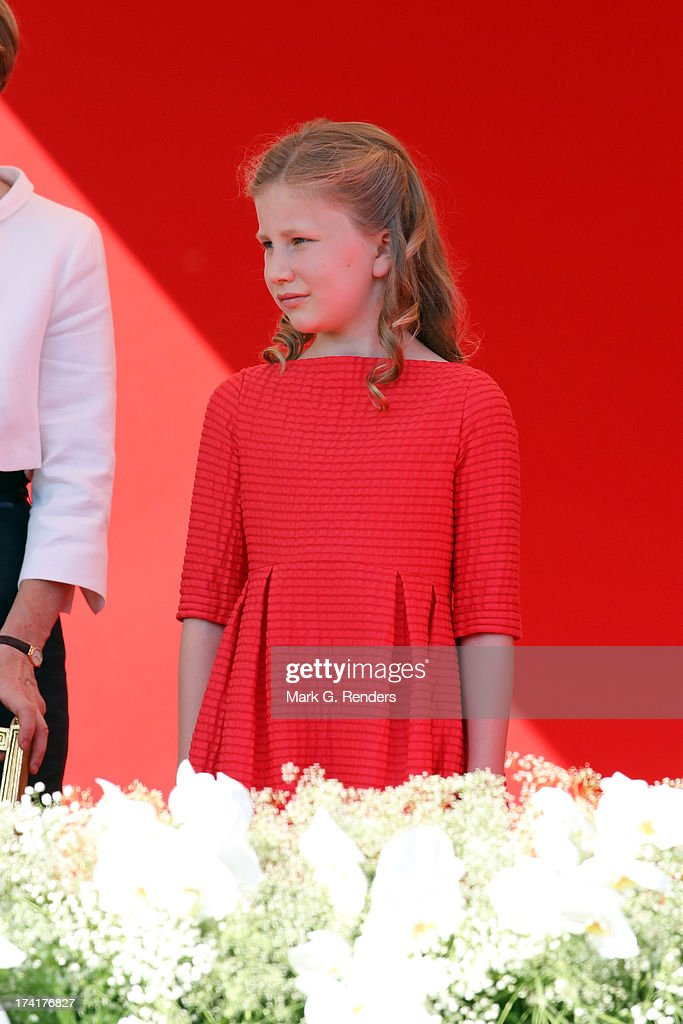 Princess Elisabeth of Belgium seen at the Civil and Military Parade during the Abdication Of King Albert II Of Belgium, & Inauguration Of King Philippe on July 21, 2013 in Brussels, Belgium.