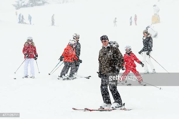 Princess Elisabeth Prince Emmanuel Prince Gabriel King Philippe Princess Eleonore and Queen Mathilde of Belgium are skiing during their winter...