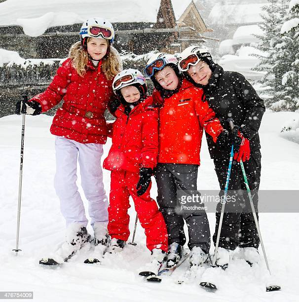 Princess Elisabeth Prince Gabriel Princes Emmanuel and Princess Eleonore of Belgium pose during their family sking holiday on March 3 2014 in Verbier...