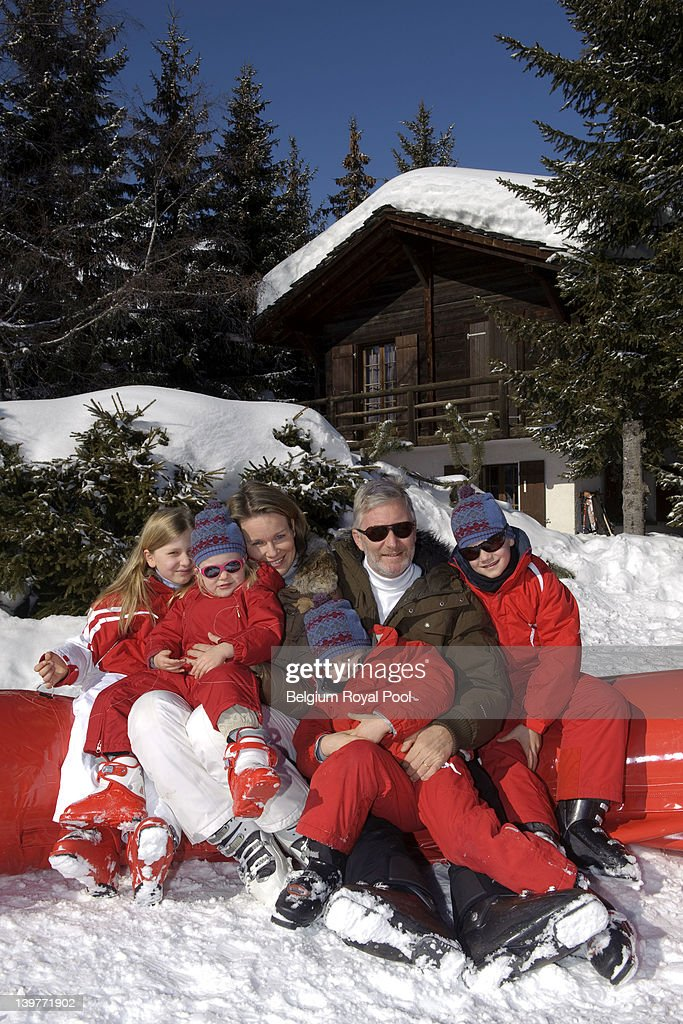 Princess Elisabeth, Princess Eleonore, Princess Mathilde, Prince Philippe, Prince Gabriel and <a gi-track='captionPersonalityLinkClicked' href=/galleries/search?phrase=Prince+Emmanuel+of+Belgium&family=editorial&specificpeople=763428 ng-click='$event.stopPropagation()'>Prince Emmanuel of Belgium</a> pictured during their skiing holiday on February 17, 2012 in Verbier, Switzerland.