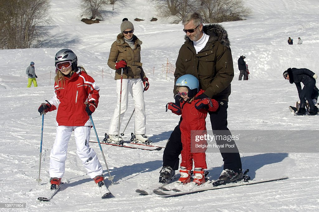 Princess Elisabeth, Princess Mathilde, Princess Eleonore and Prince <a gi-track='captionPersonalityLinkClicked' href=/galleries/search?phrase=Philippe+of+Belgium&family=editorial&specificpeople=160209 ng-click='$event.stopPropagation()'>Philippe of Belgium</a> pictured during their skiing holiday on February 17, 2012 in Verbier, Switzerland.
