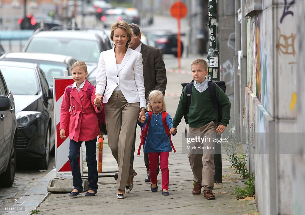 Princess Elisabeth, Princess Mathilde, Princess Eleonore and <a gi-track='captionPersonalityLinkClicked' href=/galleries/search?phrase=Prince+Gabriel+of+Belgium&family=editorial&specificpeople=763403 ng-click='$event.stopPropagation()'>Prince Gabriel of Belgium</a> attend first day at school at Sint Jan Berghmans College on September 3, 2012 in Brussels, Belgium.