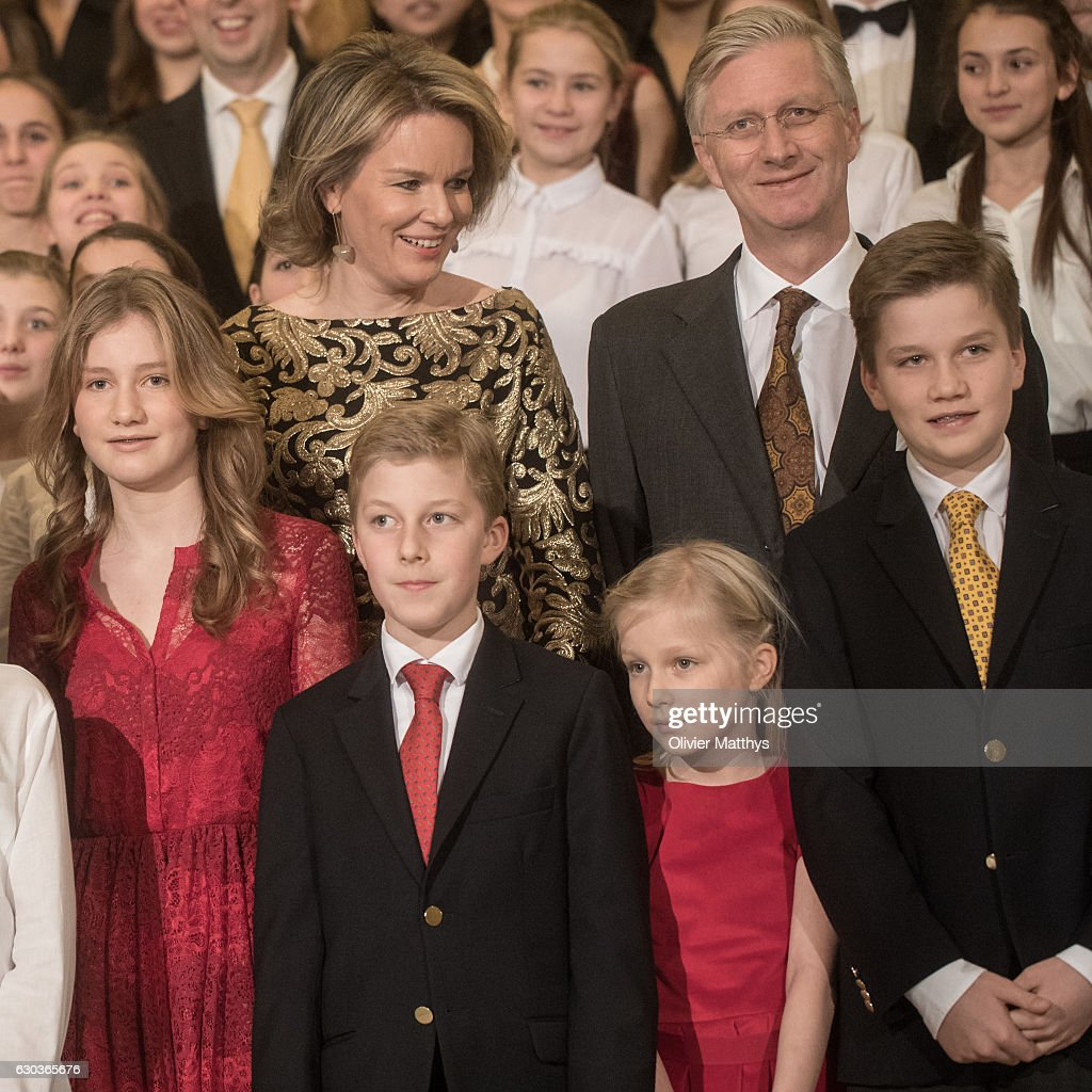 Princess Elisabeth, Queen Mathilde of Belgium, Prince Emmanuel, Princess Eleonore, King Philip of Belgium and Prince Gabriel attend the Christmas Concert at the Royal Palace on December 21, 2016 in Brussels, Belgium.