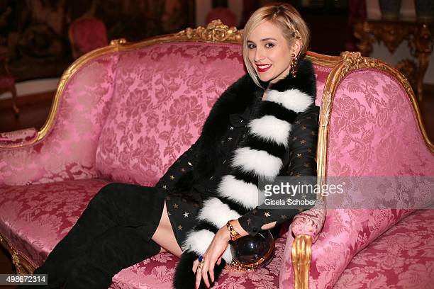 Princess Elisabeth von Thurn und Taxis wearing a dress by Saint Laurent during the mytheresacom X Gianvito Rossi dinner at St Emmeram Castle on...