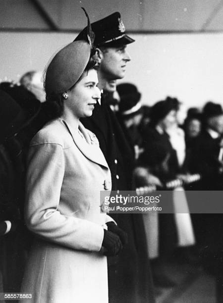 Princess Elizabeth and Lieutenant Philip Mountbatten attend the launch of the liner 'Caronia' at the John Brown Company shipyard at Clydebank on the...