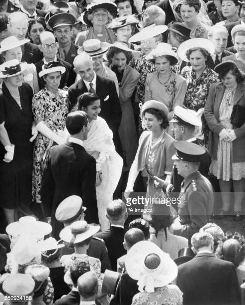 Princess Elizabeth and Lieutenant Philip Mountbatten RN talk to Mrs Irwin daughter of BC Dutt Accountant General in Bombay and her husband HC Irwin a...