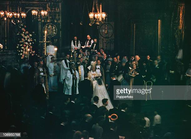 Princess Elizabeth and Philip Mountbatten Duke of Edinburgh at Westminster Abbey during their wedding ceremony 20th November 1947 Geoffrey Fisher the...