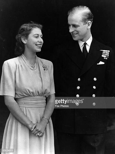 Princess Elizabeth and Philip Mountbatten Duke of Edinburgh on the occasion of their engagement at Buckingham Palace in London